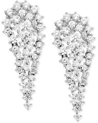 Wrapped in Love - Diamond Cluster Drop Earrings (2 Ct. T.w.) In 14k White Gold - Lyst