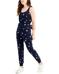 Style & Co. Star-print Sleeveless Jumpsuit, Created For Macy's - Blue