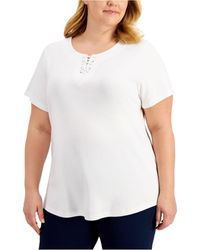Karen Scott Plus Size Lace-up T-shirt, Created For Macy's - White