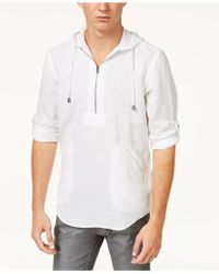 INC International Concepts - Half-zip Linen-blend Hoodie, Created For Macy's - Lyst