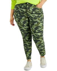 Style & Co. Petite Camo-print Mid-rise Curvy-fit Skinny Jeans, Created For Macy's - Green