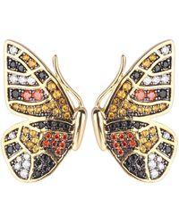 Noir Jewelry Multi-colored Cubic Zirconia Butterfly Wing Stud Earring - Metallic