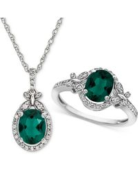 Macy's - Lab Created Emerald (1-3/4 Ct. T.w.) & White Sapphire (3/4 Ct. T.w.) Pendant Necklace & Ring In Sterling Silver - Lyst