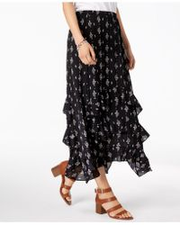 Style & Co. Printed Tiered-ruffle Maxi Skirt, Created For Macy's - Black