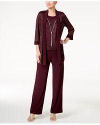 R & M Richards Metallic Pantsuit, Shell & Necklace Set - Red