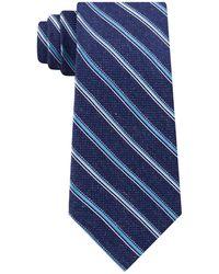 Michael Kors Satin Asymmetric Weft Stripe Tie - Blue
