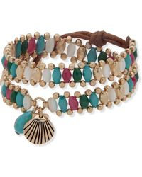 Lonna & Lilly Gold-tone Shell & Multicolor Bead Wrap Bracelet - Metallic