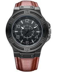 Timothy Stone Quartz Oversized Metal And Leather Strap Watch - Black