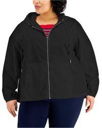 Karen Scott Plus Size Cotton Hooded Jacket, Created For Macy's - Black