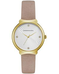 BCBGMAXAZRIA Ladies Beige Leather Strap Watch With White Wave Textured Dial, 32mm - Metallic