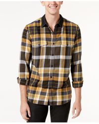 Guess   Men's Brushed Plaid Shirt   Lyst