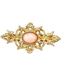 2028 Downton Abbey Gold-tone And Peach Colour Stone Pin - Metallic