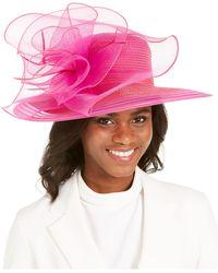 August Accessories Wide-brim Braided Dressy Hat - Pink