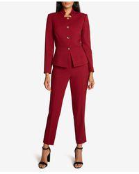 Tahari Peplum-hem Pants Suit - Red
