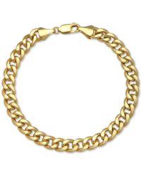 Macy's Cuban Chain Bracelet In 14k Gold - Metallic