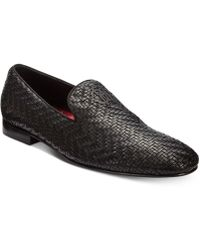 Roberto Cavalli Night Woven Leather Loafers - Black