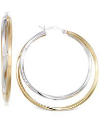 Macy's | Interlocking Hoop Earrings In 14k Gold Vermeil And White Gold Vermeil | Lyst