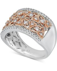 Macy's - Diamond Two-tone Openwork Floral Statement Ring (5/8 Ct. T.w.) In 14k Gold & White Gold - Lyst