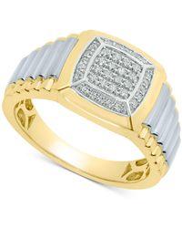 Macy's Diamond Two-tone Ring (1/4 Ct. T.w.) In 10k Gold & White Gold - Metallic