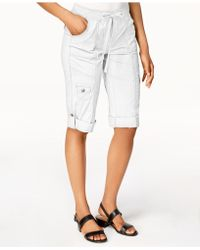 Style & Co. Drawstring Cargo Shorts, Created For Macy's - White