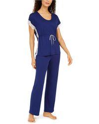 Charter Club Lace-trim Pyjama Set, Created For Macy's - Blue