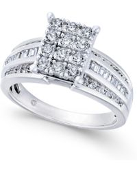 Macy's - Diamond Rectangle Cluster Ring (1 Ct. T.w.) In 14k White Gold - Lyst
