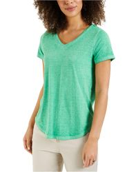 Style & Co. Plus Size Solid Burnout T-shirt, Created For Macy's - Green