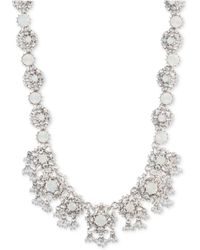 """Marchesa - Silver-tone Crystal & Imitation Pearl Cluster Collar Necklace, 16"""" + 3"""" Extender - Lyst"""