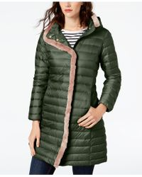 Cole Haan - Faux-fur-trim Hooded Puffer Coat - Lyst