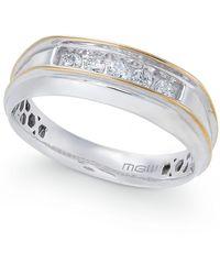 Macy's Men's Diamond Two-tone Five-stone Ring (1/4 Ct. T.w.) In 10k Gold & White Gold - Metallic