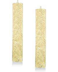 Signature Gold Tm Diamond Accent Textured Pear-shape Hoop Earrings In 14k Gold Over Resin - Metallic