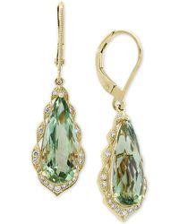 Effy Collection - Effy® Prasiolite (5-9/10 Ct. T.w.) & Diamond (1/6 Ct. T.w.) Drop Earrings In 14k Gold - Lyst