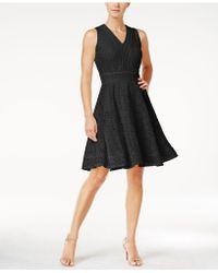 Charter Club Lace Fit & Flare Dress - Black
