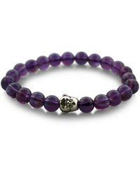Macy's Beaded Amethyst Purple Stretch Bracelet