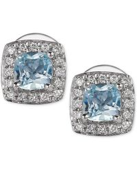 Le Vian - Aquamarine (3/8 Ct. T.w.) And Diamond (1/10 Ct. T.w.) Stud Earrings In 14k White Gold - Lyst