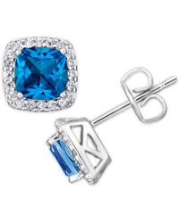 Macy's - Simulated Birthstone Cushion Cubic Zirconia Halo Solitaire Stud Earrings In Fine Silver Plate - Lyst