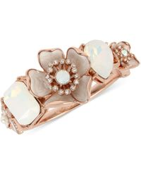 Betsey Johnson - Rose Gold-tone Crystal & Stone Flower Bangle Bracelet - Lyst