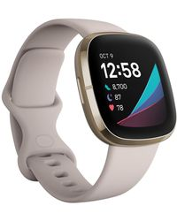 Fitbit Sense Lunar White Strap Smart Watch 39mm