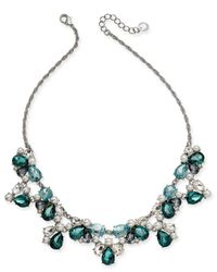 """Charter Club Silver-tone Crystal, Stone & Imitation Pearl Statement Necklace, 17"""" + 2"""" Extender, Created For Macy's - Blue"""