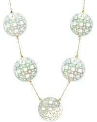 """Macy's - Mother Of Pearl (30mm) Cutout Disc 18"""" Chain Necklace In 14k Gold - Lyst"""