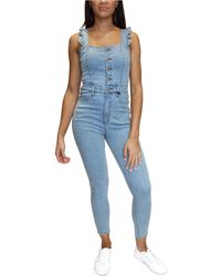 Almost Famous Juniors' Ruffle-strap Skinny Denim Overalls - Blue