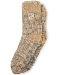 Dearfoams Space-dye Textured Knit Flurry Slipper Sock, Online Only - Natural