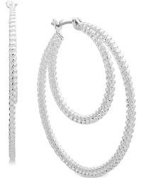 Nine West - Textured Double Hoop Earrings - Lyst