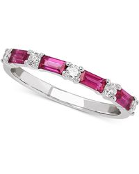 Macy's - Certified Ruby (5/8 Ct. T.w.) & Diamond (1/5 Ct. T.w.) Band In 14k White Gold - Lyst