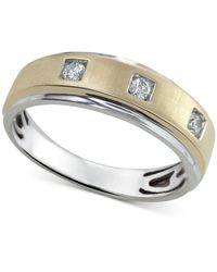 Macy's Diamond Two-tone Band (1/5 Ct. T.w.) In 10k Gold & White Gold - Metallic