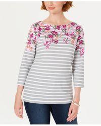 Karen Scott Three-quarter-sleeve Printed Top, Created For Macy's - Multicolour
