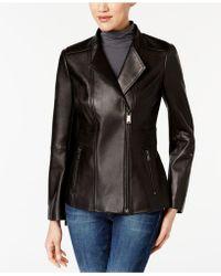 Anne Klein - Asymmetrical Leather Jacket - Lyst