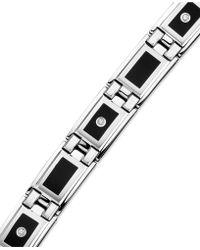 Macy's - Men's Stainless Steel And Black Enamel Diamond Bracelet (1/8 Ct. T.w.) - Lyst