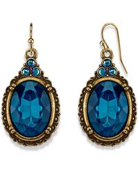2028 Burnished Brass-tone Indicolite Blue Color And Ab Accent Oval Drop Wire Earrings