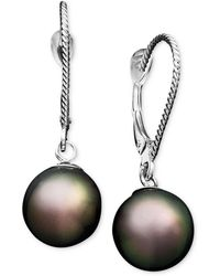 Macy's Pearl Earrings, 14k White Gold Cultured Tahitian Pearl Drop Earrings (8mm) - Multicolor